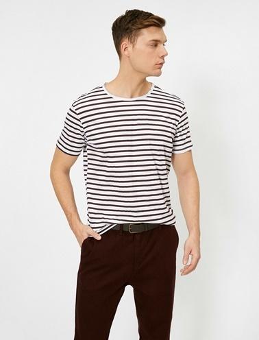 Koton Çizgili T-Shirt Bordo